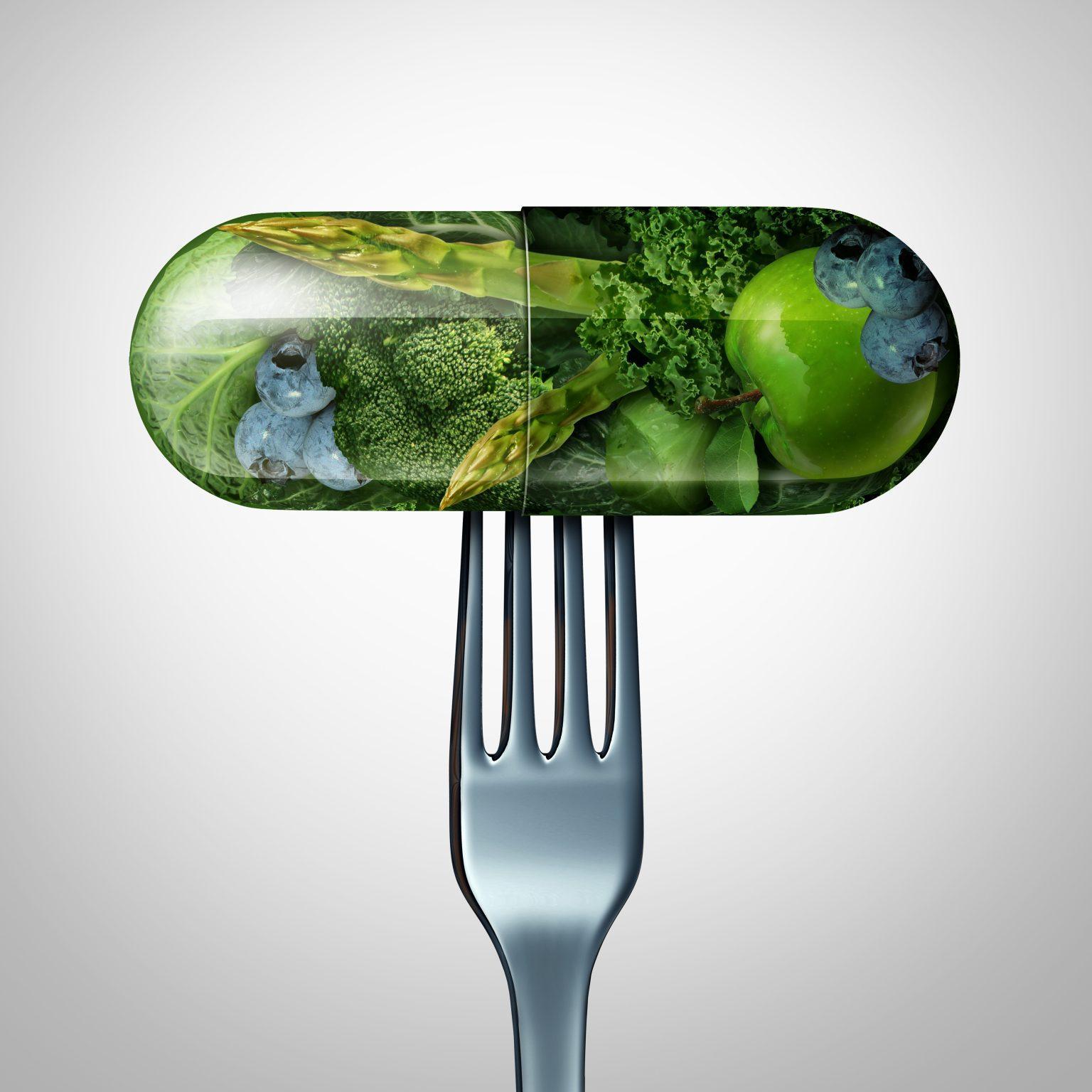 Zdrowe jedzenie zamknięte w kapsułce
